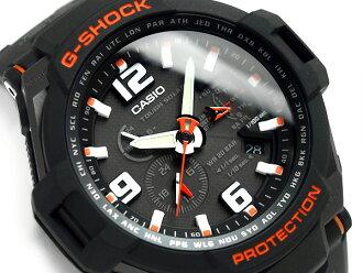 凱西歐 g-shock 重新導入外國模型天空駕駛艙太陽能類比手錶黑色 × 橙色聚氨酯皮帶 G-1400年-1ADR