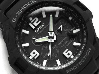 凱西歐 G 衝擊重新導入外籍模特天空駕駛艙太陽能類比手錶黑色 IP 黑色不銹鋼帶 G-1400 D-1ADR