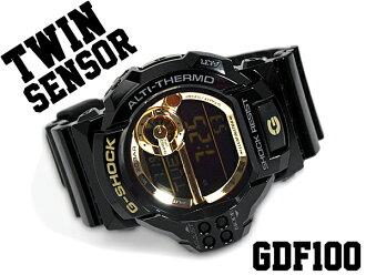 G shock 6600 g-shock CASIO Casio twin sensor with digital Watch Gold black GDF-100GB-1DR GDF-100GB-1