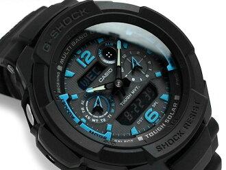 + 凱西歐 G 衝擊海外進口型號天空駕駛艙收音機太陽能類比-數位手錶黑色錶盤聚氨酯皮帶 GW-3500B-1 A2DR