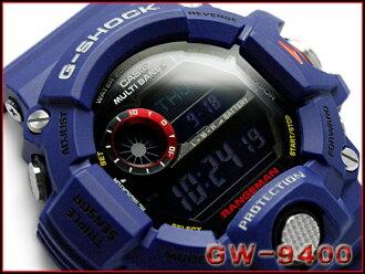 卡西歐G打擊RANGEMAN範圍人員返銷進口海外型號人in深藍限定電波太陽能電波鐘表手表GW-9400NV-2ER GW-9400NV-2