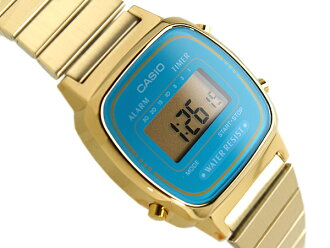 CASIO Casio standard model digital ladies watch imports overseas model deep sky blue gold LA-670WGA-2DF