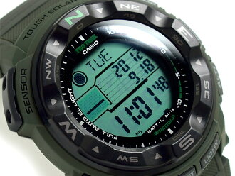 + Casio overseas model protrek triple sensor with solar digital watch Army Green Camo pattern cross belt PRG-250B-3DR