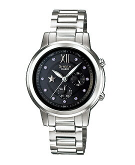 CASIO SHEEN] CASIO scene ladies watch radio solar black silver watch SHE-7506D-1AJF