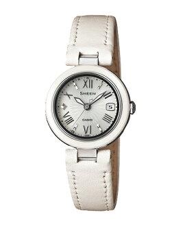 + Casio scene ladies wristwatch radio solar silver white leather belt SHW-1506L-7AJF