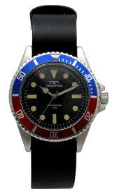 【テクノス】【TECHNOS】【送料無料】【訳あり:A】【アウトレット】【正規品】【腕時計】TECHNOS/テクノス T1545SH 回転ベゼル レザーベルト 腕時計 メンズ ブラック×レッド×ブルー