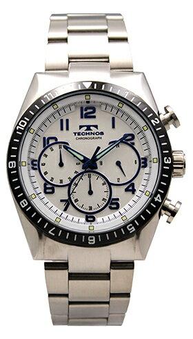 【送料無料】【訳あり:A】【アウトレット】【正規品】【腕時計】TECHNOS/テクノスT1609TSオールステンレスクロノグラフ腕時計メンズシルバー