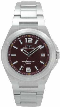 【訳あり:詳】【アウトレット時計】TECHNOS/テクノス T2154SR ワインレッド 10気圧防水&カーボンダイヤル腕時計メンズ