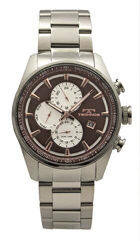 【テクノス】【TECHNOS】【送料無料】【訳あり:A】【アウトレット】【正規品】【腕時計】TECHNOS/テクノス T8571SA オールステンレス デュアルタイム 腕時計 メンズ ブラウン
