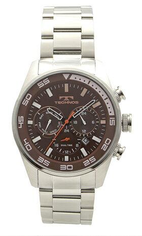 【テクノス】【TECHNOS】【送料無料】【訳あり:A】【アウトレット】【正規品】【腕時計】TECHNOS/テクノス T8572SA オールステンレス デュアルタイム 腕時計 メンズ ブラウン