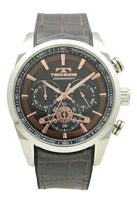 【テクノス】【TECHNOS】【送料無料】【訳あり:A】【アウトレット】【正規品】【腕時計】TECHNOS/テクノス T8639SA 牛革&シリコンベルト クロノグラフ 腕時計 メンズ ブラウン
