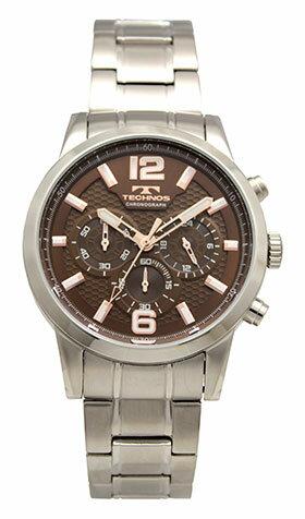 【テクノス】【TECHNOS】【送料無料】【訳あり:A】【アウトレット】【正規品】【腕時計】TECHNOS/テクノス T8665SA オールステンレス クロノグラフ 腕時計 メンズ ブラウン
