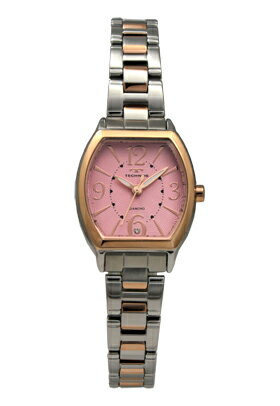 【訳あり:A】【アウトレット時計】【正規品】【テクノス】【腕時計】TECHNOS/テクノスT4865PP三針オールステンレス本ダイヤ一石3気圧防水腕時計レディースピンク×ピンクゴールド