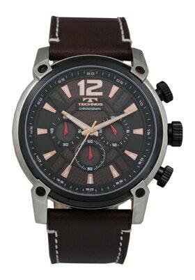 【訳あり:A】【アウトレット時計】【正規品】【テクノス】【腕時計】TECHNOS/テクノス T6434SA クロノグラフ 牛革バンド 5気圧防水 腕時計 メンズ ブラウン