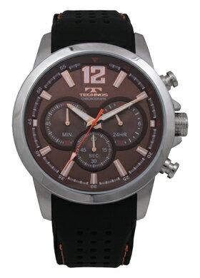 【訳あり:A】【アウトレット時計】【正規品】【テクノス】【腕時計】TECHNOS/テクノス T6459SA クロノグラフ シリコンバンド 5気圧防水 腕時計 メンズ ブラウン×ピンクゴールド