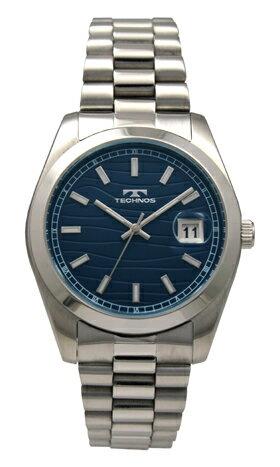 【訳あり:A】【アウトレット時計】【正規品】【テクノス】【腕時計】TECHNOS/テクノスT6500SN三針・カレンダーオールステンレス3気圧防水腕時計メンズブルー