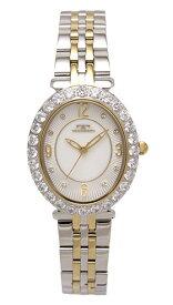 【テクノス】【TECHNOS】【送料無料】【訳あり:A】【アウトレット】【正規品】【腕時計】TECHNOS/テクノス T6916TW オールステンレス 腕時計 レディース ホワイト ゴールド コンビベルト