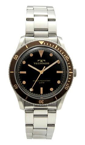 【テクノス】【TECHNOS】【送料無料】【訳あり:A】【アウトレット】【正規品】【腕時計】TECHNOS/テクノス T5650SA オールステンレス 三針 腕時計 メンズ ブラック×ブラウン