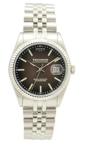 【テクノス】【TECHNOS】【送料無料】【訳あり:A】【アウトレット】【正規品】【腕時計】TECHNOS/テクノス T9655SA オールステンレス 三針 カレンダー 腕時計 メンズ ブラウン