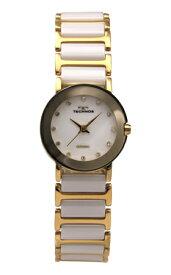 【訳あり:A】【アウトレット時計】【正規品】【テクノス】【腕時計】TECHNOS/テクノス T9864GW セラミックモデル 腕時計 レディース ホワイト×ゴールド