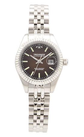 【テクノス】【TECHNOS】【送料無料】【訳あり:A】【アウトレット】【正規品】【腕時計】TECHNOS/テクノス T9888SA オールステンレス 三針 カレンダー 腕時計 レディース ブラウン