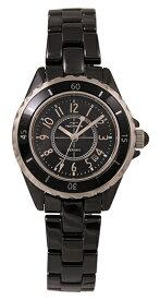 【テクノス】【TECHNOS】【送料無料】【訳あり:A】【アウトレット】【正規品】【腕時計】TECHNOS/テクノス T9906BB セラミックケース&ベルト 三針 腕時計 レディース ブラック
