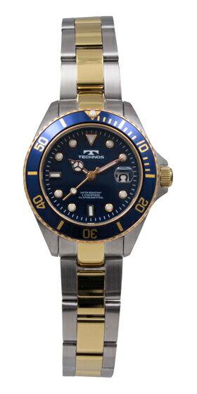 【訳あり:A】【アウトレット時計】【正規品】【テクノス】【腕時計】TECHNOS/テクノスT0853TN三針・カレンダーオールステンレス回転ベゼル5気圧防水腕時計レディースブルー×ゴールド