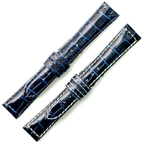 YK311d1【牛革型押し - 19mm・肉厚】 - 色:紺(ネイビー) / サイズ:19-16mm