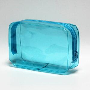 【メール便OK】抗菌ビニールポーチ Lサイズ ブルー【日本製】(約)タテ11×ヨコ18×マチ6cm トラベルポーチ 旅行 ポーチ ケース ペンケース 化粧ポーチ 小物入れ かわいい おしゃれ 透明ポーチ