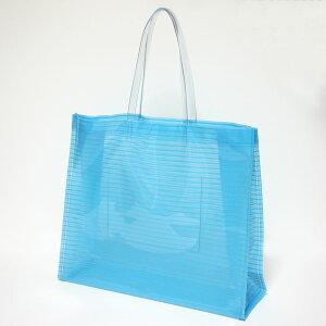 【エコバッグ】肩掛けOK ストライプ ビニールバッグ Lサイズ ブルー【日本製】透明バッグ おしゃれ かわいい プールバッグ ビーチバッグ 温泉バッグ トートバッグ 社内バッグ クリアバッグ