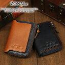 二つ折り財布 小銭入れあり ミドルウォレット ZONALE ORLOシリーズ メンズ レディース 31222 ゾナール オルロ 牛革 本革 革 レザー BOX型小銭入れ L字ファスナー ICカードポケット バイカラー ブランド