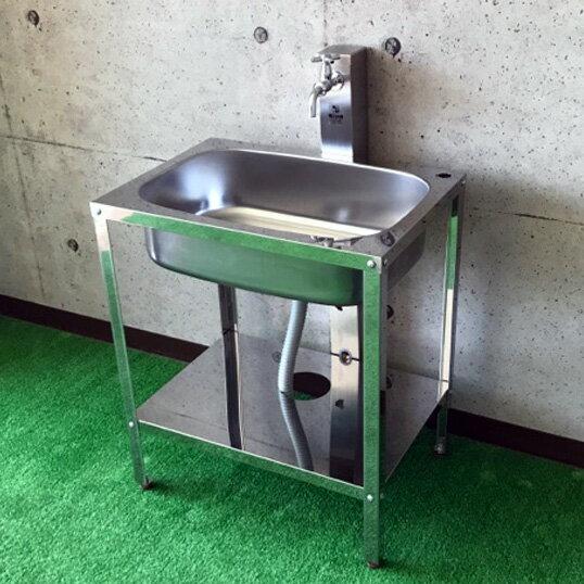 ガーデンパン DIY 流し台 屋外 水栓 簡易流し台 ガーデニング 家庭菜園ステンレス ガーデンシンク H700【SG-6SC】【送料無料】