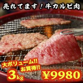牛肉 牛カルビセット 3kg 焼肉 BBQ 送料無料