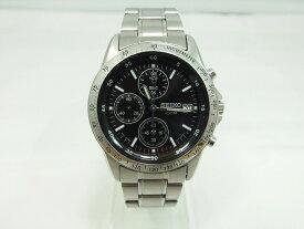 セイコー SEIKO クロノグラフ カレンダー付き アナログ 腕時計 ブラック シルバー 7T92−0DW0 【中古】