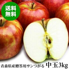 青森県産 贈答用サンつがる 中玉 約3kg(10〜12玉)【送料無料】