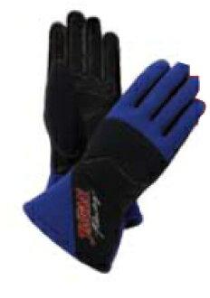 朱蘭 (朱蘭) 賽車手套高級藍色與黑色