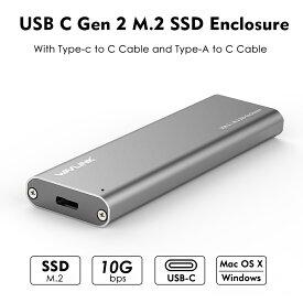 「国内配送」WAVLINK USB-C M.2 SATA SSDケース(NGFF/B Key)対応 UASPサポートUSB 3.1 Gen2 10Gbps SATAハードドライブエンクロージャー