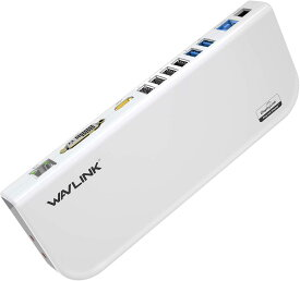 1000円OFFクーポンあり!WAVLINK USB3.0ドッキングステーション ユニバーサル 12ポート 最高解像度2048x1152 DVI HDMIポート ギガビットイーサネットポート等搭載 5Gbps高速 【USB3.0高速ハブ/コンパクト/軽量】 usb3.0 USBケーブル/電源アダプター付き 認証完了
