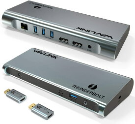 「国内配送」WAVLINK デュアル4K@60Hz シングル8K@30Hz DP/HDMI Thunderbolt3ドッキングステーション USB3.0 USB-C DP-HDMI アダプタ 60WPD充電 バスパワー 40Gbs ギガビット 音声入出力Windows10/Mac OS X 対応「インテル認定済」