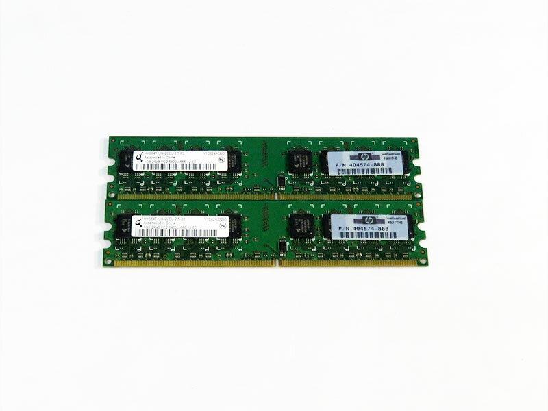 404574-888 HP 計2GB (1GBx2) DDR2-800 Qimonda HYS64T128020EU-2.5-B2【中古】【送料無料セール中! (大型商品は対象外)】
