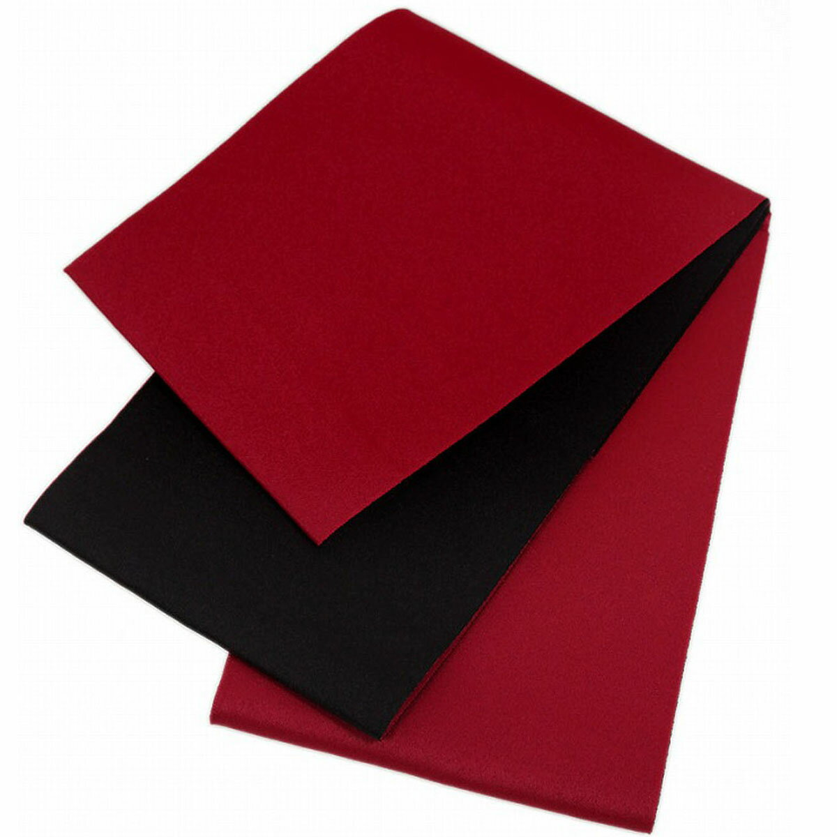 日本製 シンプル リバーシブル 浴衣帯 無地 赤×黒 長尺 超長尺