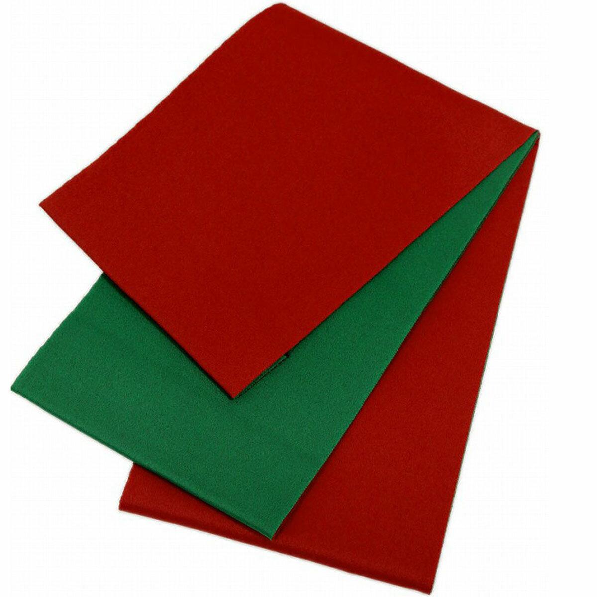 日本製 シンプル リバーシブル 浴衣帯 無地 赤×緑 長尺 超長尺