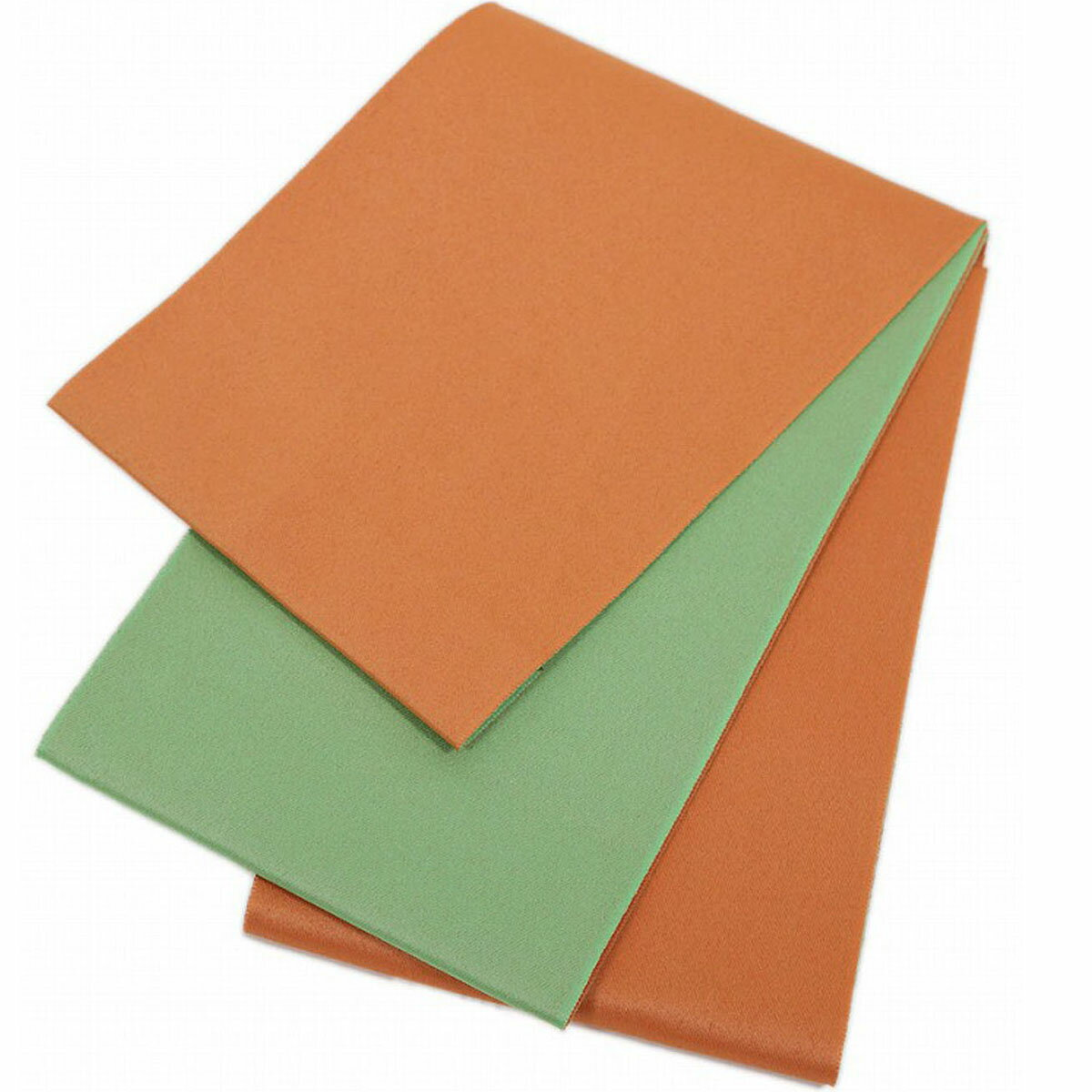 日本製 シンプル リバーシブル 浴衣帯 無地 オレンジ×鶸色 長尺 超長尺