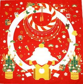 【 風呂敷 】 鏡もち リース 綿 二巾(約75cm巾) シャンタン [ 正月 お正月 お年賀 正月飾り 門松 招き猫 獅子舞 鏡もち 鏡餅 椿 つばき 梅 タペストリー 壁掛け 掛軸 和風 インテリア 飾り ディスプレイ ディスプレー しめ縄飾り 四季 季節 冬 1月 ]