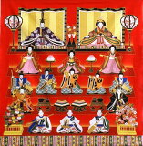 ひな祭り風呂敷雛飾り桃の節句七段雛人形綿二巾(約75cm巾