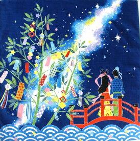 【 風呂敷 】 さとうひろみ 七夕 綿 小風呂敷(約50cm巾)[ タペストリー ふろしき たなばた 七夕飾り 笹 短冊 星 四季 季節 春 夏 7月 和風 インテリア 飾り ディスプレイ ディスプレー 壁掛け 掛軸 ]