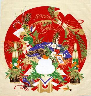 New cotton small Furoshiki (50 cm width) [new year new year new year new year's decorations tapestry Japanese Kagami 鏡mochi kadomatsu Hagoita fan Tai lion seasons winter season 1 / interior decoration display display wall hanging,