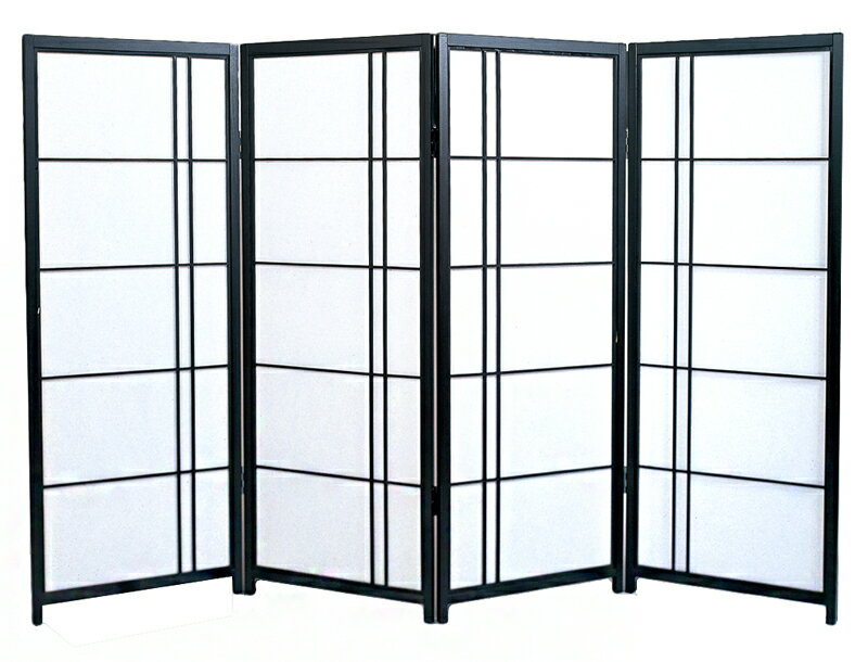 日本製 障子スクリーン 黒障子 片寄せ [強化和紙]全国送料無料 代引き手数料無料屏風 衝立 間仕切り パーテーション 障子 和家具