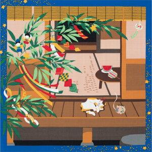 風呂敷(ふろしき)三毛猫みけの夢日記 小ふろしきみけと七夕猫(ねこ) たなばた 7月 夏 笹の葉飾り 和風 タペストリー 内祝 結婚祝 お祝い 長寿 引出物