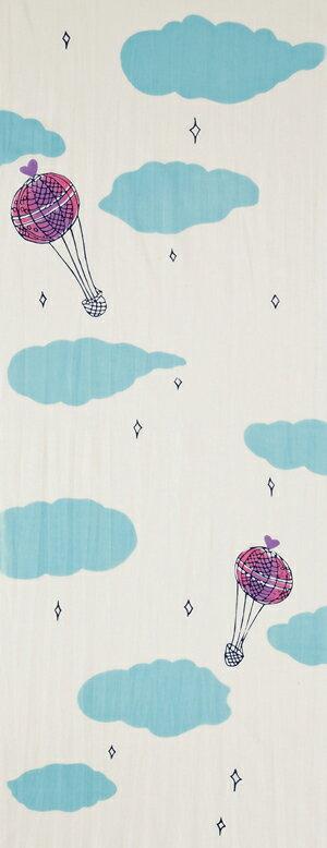 本染め手ぬぐい[TSUMORI CHISATO] くもに気球【日本手拭い(てぬぐい)・ツモリチサト・和風・かわいい・空】